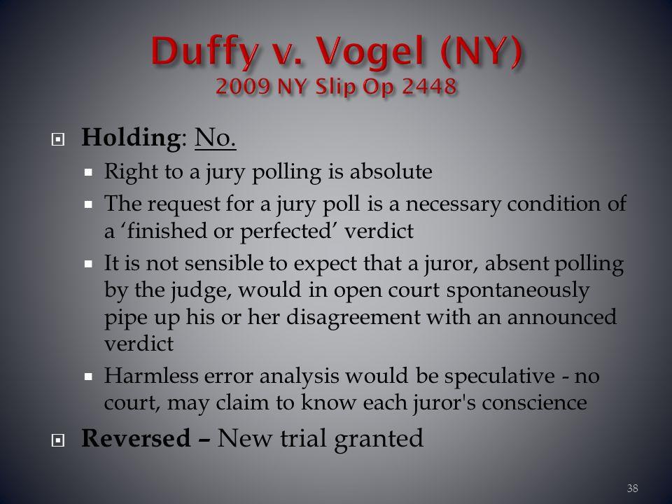 Duffy v. Vogel (NY) 2009 NY Slip Op 2448