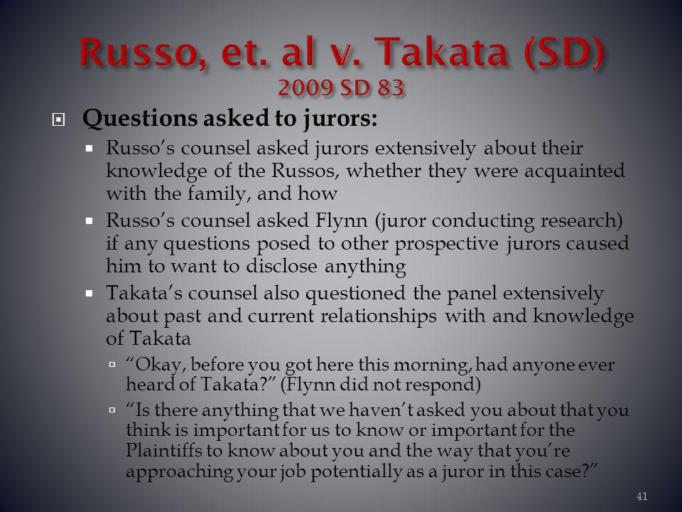 Russo, et. al v. Takata (SD) 2009 SD 83