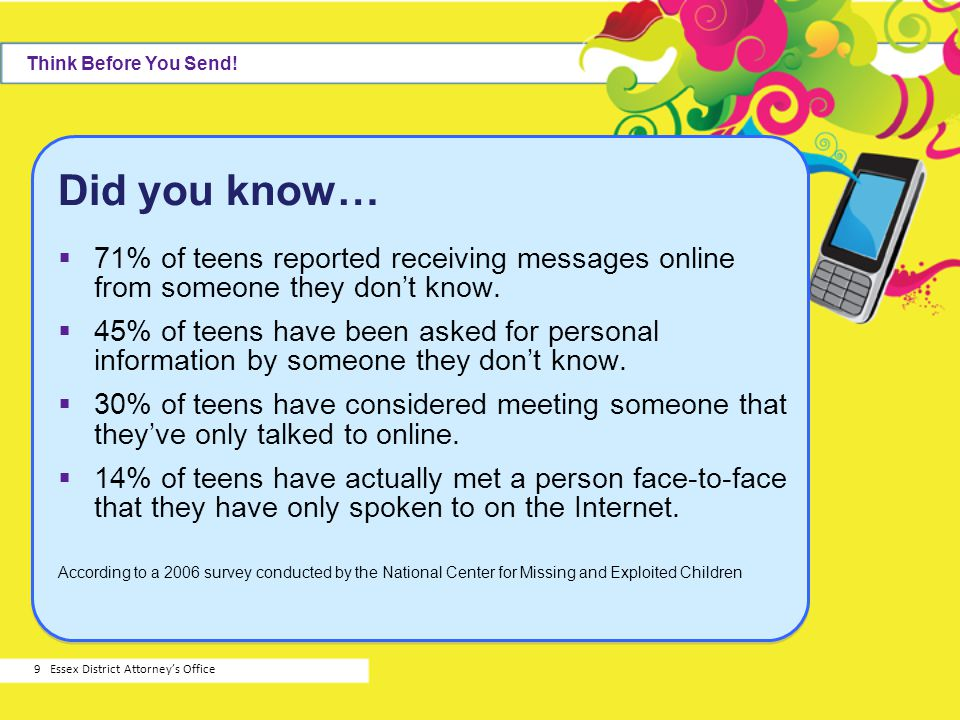 Think Before You Send! Did you know… 71% of teens reported receiving messages online from someone they don't know.
