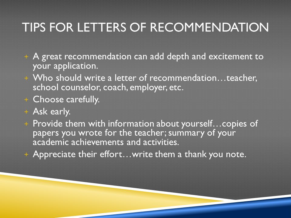 Tips for Letters of Recommendation