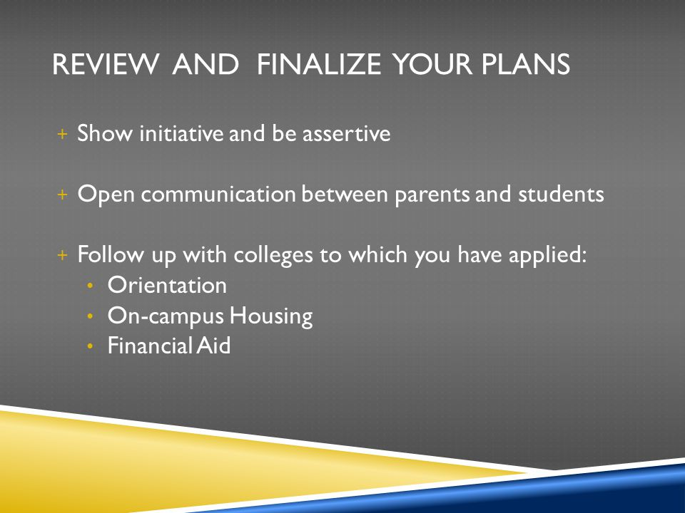 Review and Finalize Your Plans