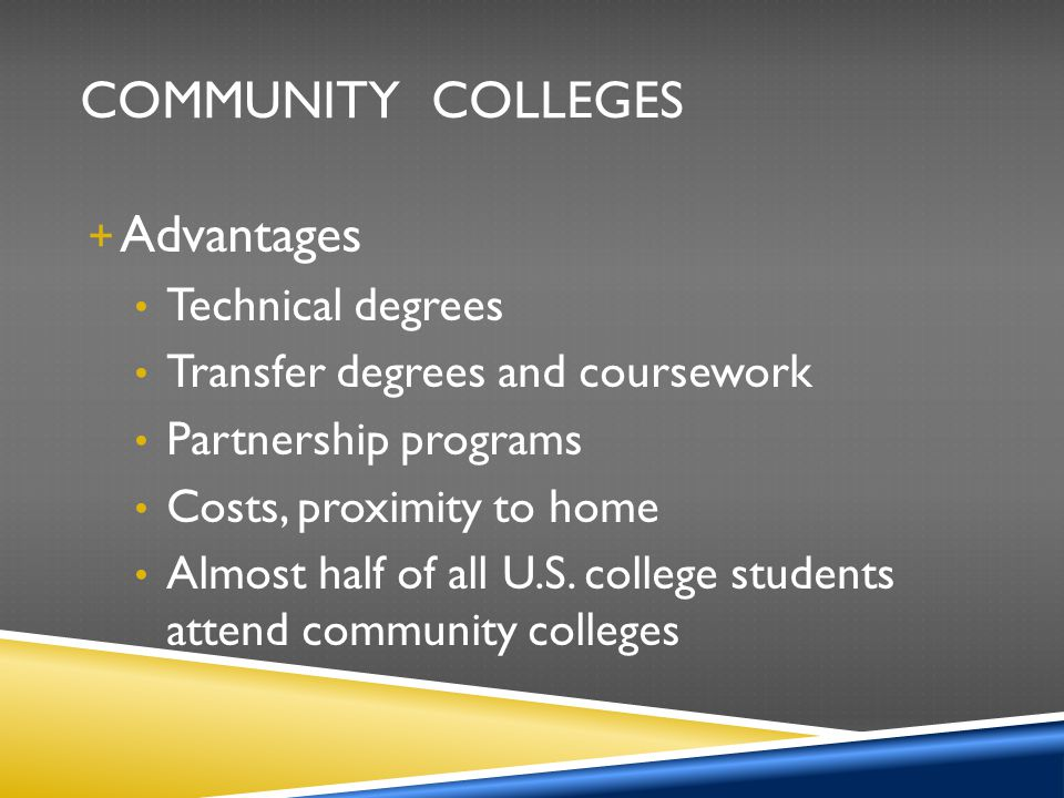 Community Colleges Advantages Technical degrees