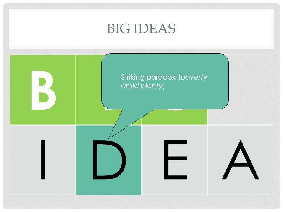 Big Ideas B I G D E A Striking paradox (poverty amid plenty)
