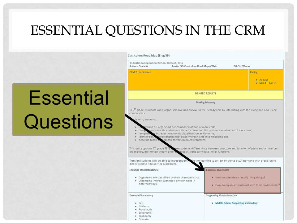 Essential Questions in the CRM