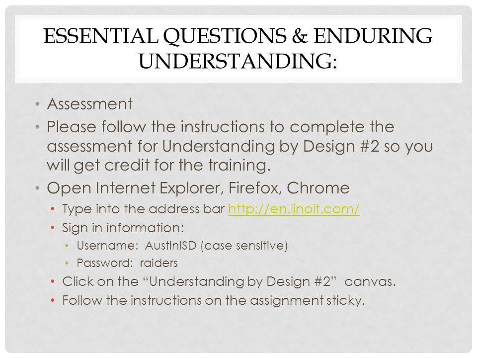 Essential Questions & Enduring Understanding: