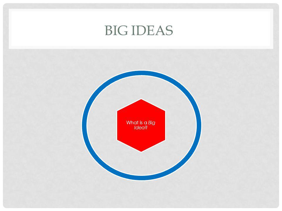 Big Ideas An idea that causes students think, question, and explore