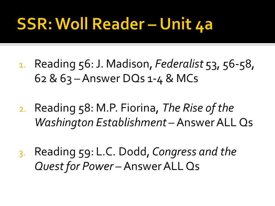SSR: Woll Reader – Unit 4a