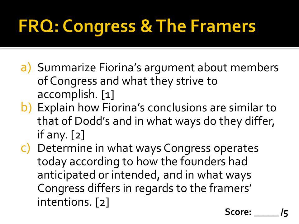 FRQ: Congress & The Framers
