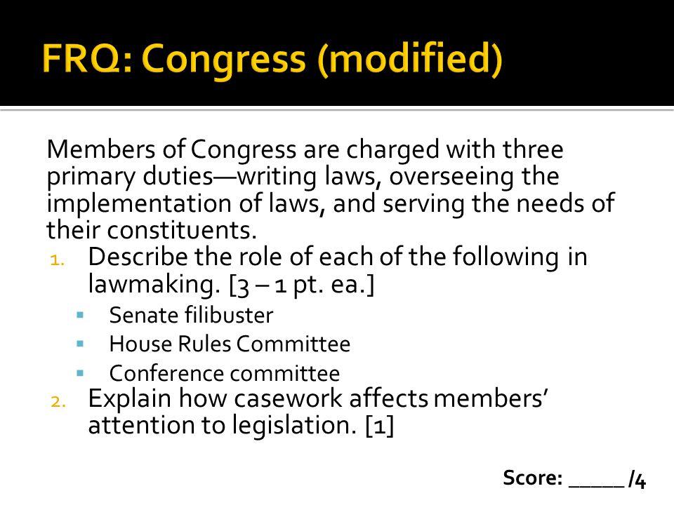 FRQ: Congress (modified)