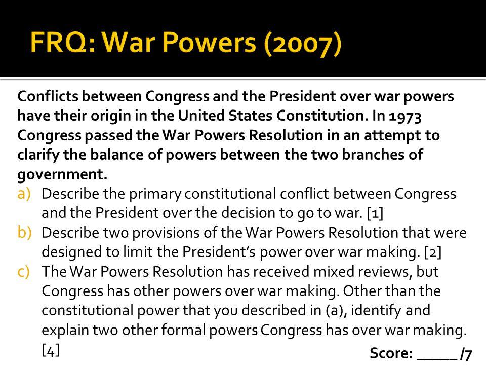 FRQ: War Powers (2007)