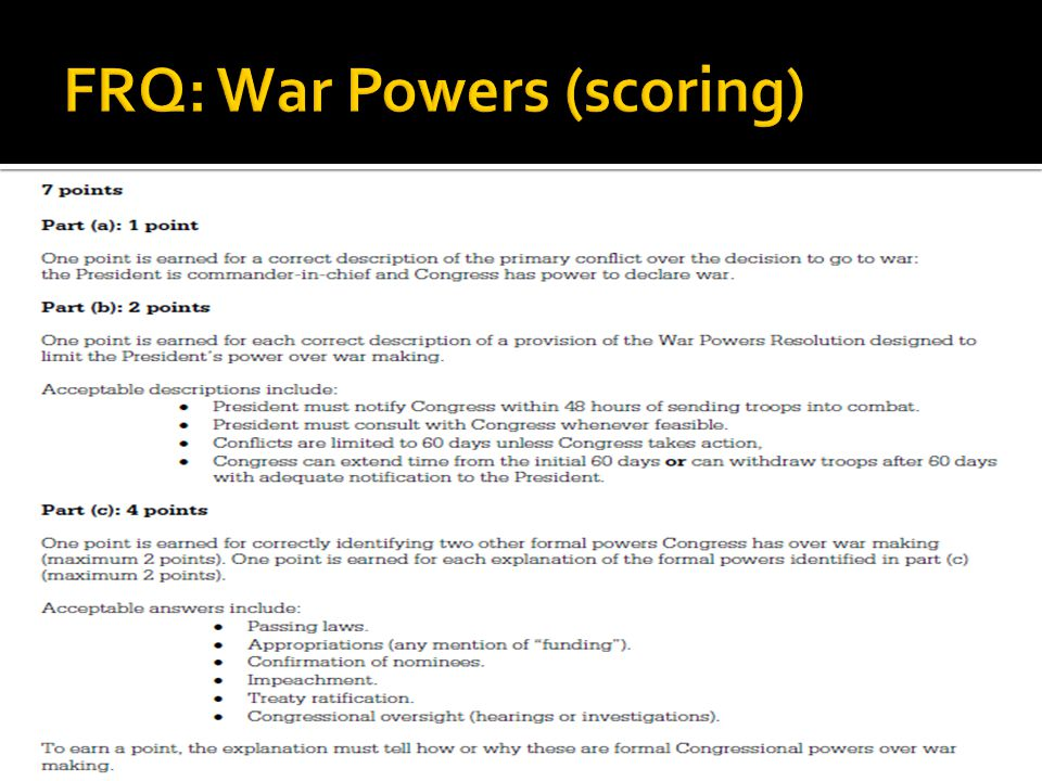 FRQ: War Powers (scoring)