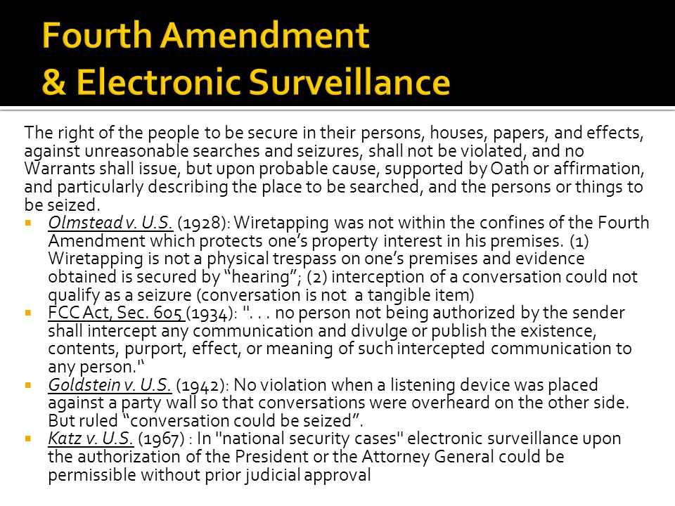 Fourth Amendment & Electronic Surveillance