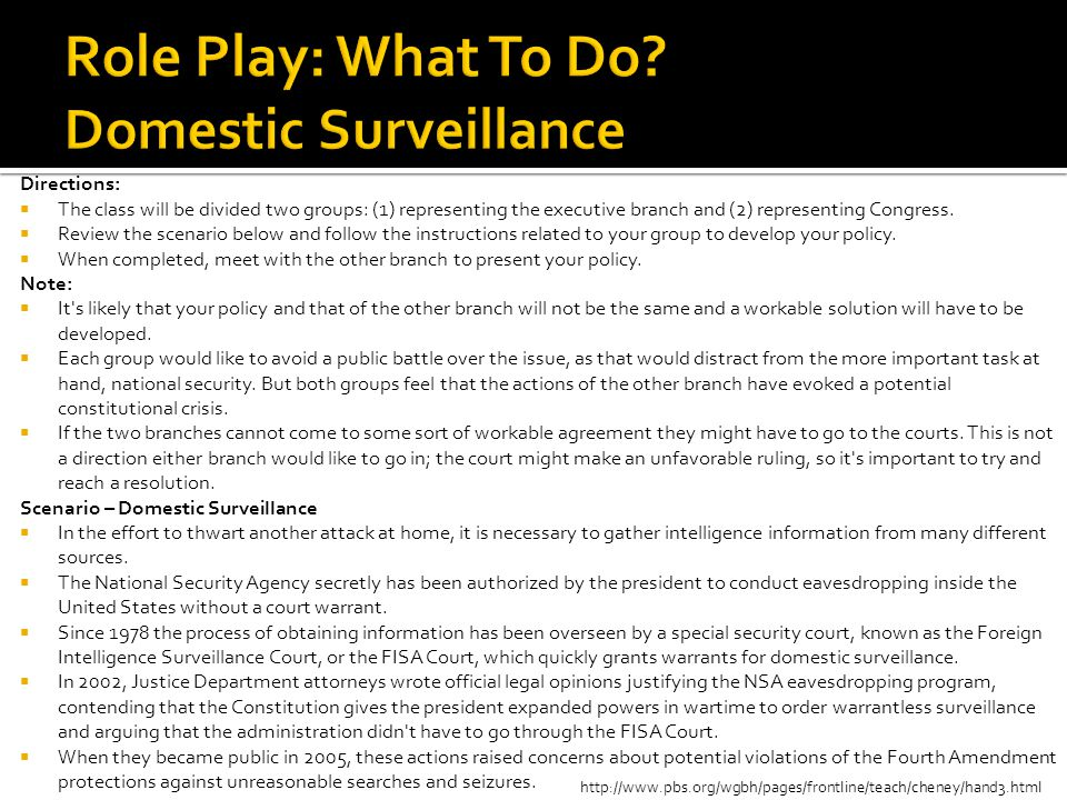 Role Play: What To Do Domestic Surveillance