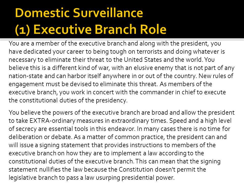 Domestic Surveillance (1) Executive Branch Role