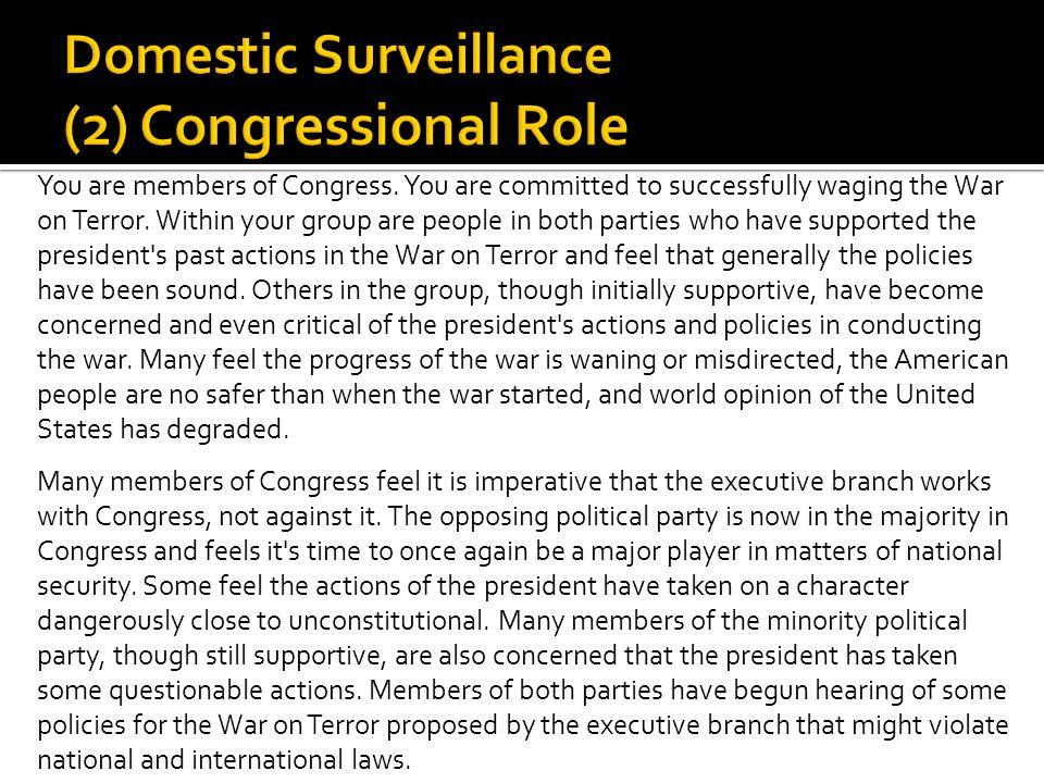 Domestic Surveillance (2) Congressional Role