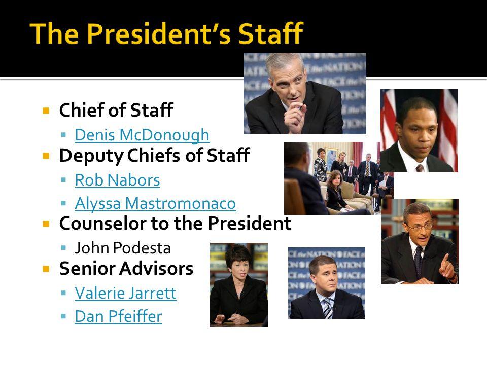The President's Staff Chief of Staff Deputy Chiefs of Staff