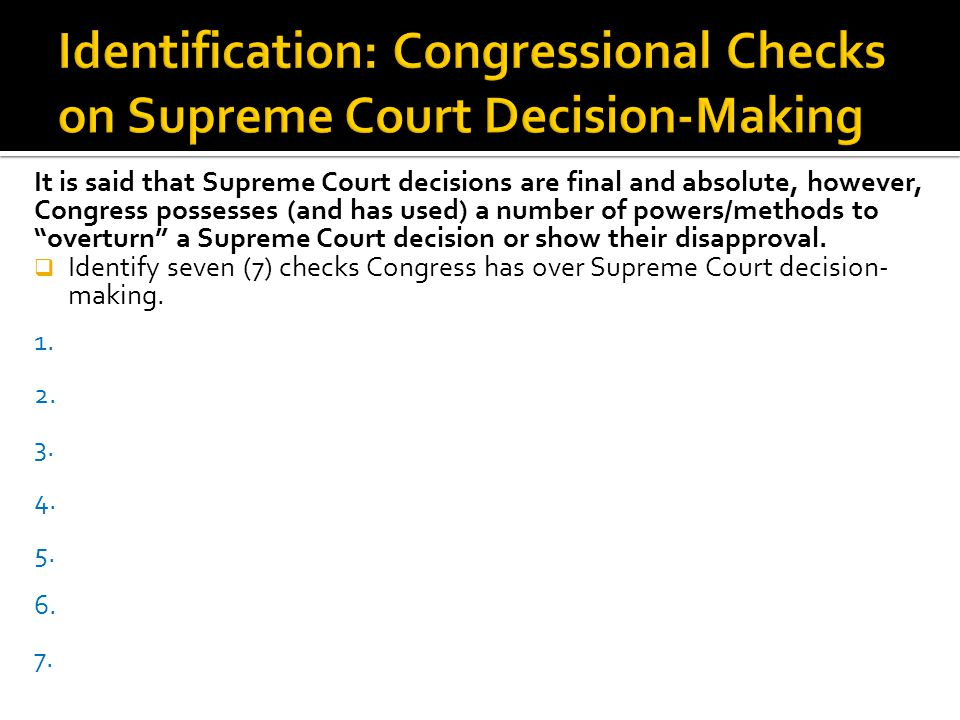 Identification: Congressional Checks on Supreme Court Decision-Making