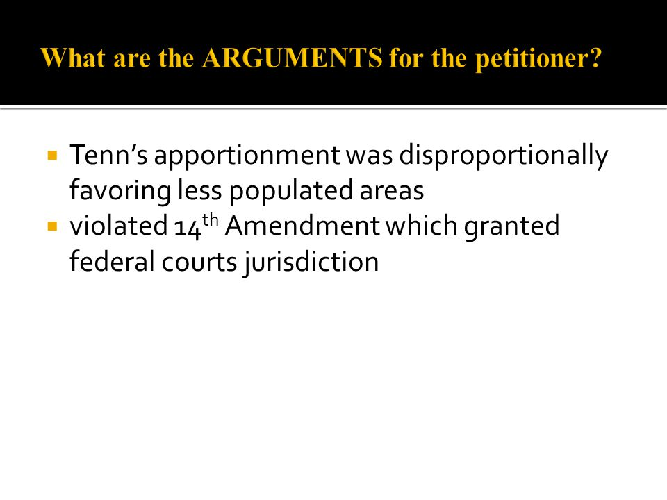 What are the ARGUMENTS for the petitioner
