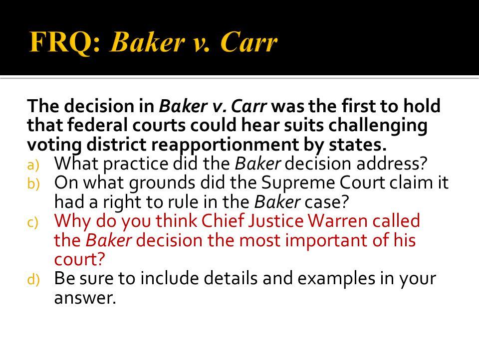 FRQ: Baker v. Carr