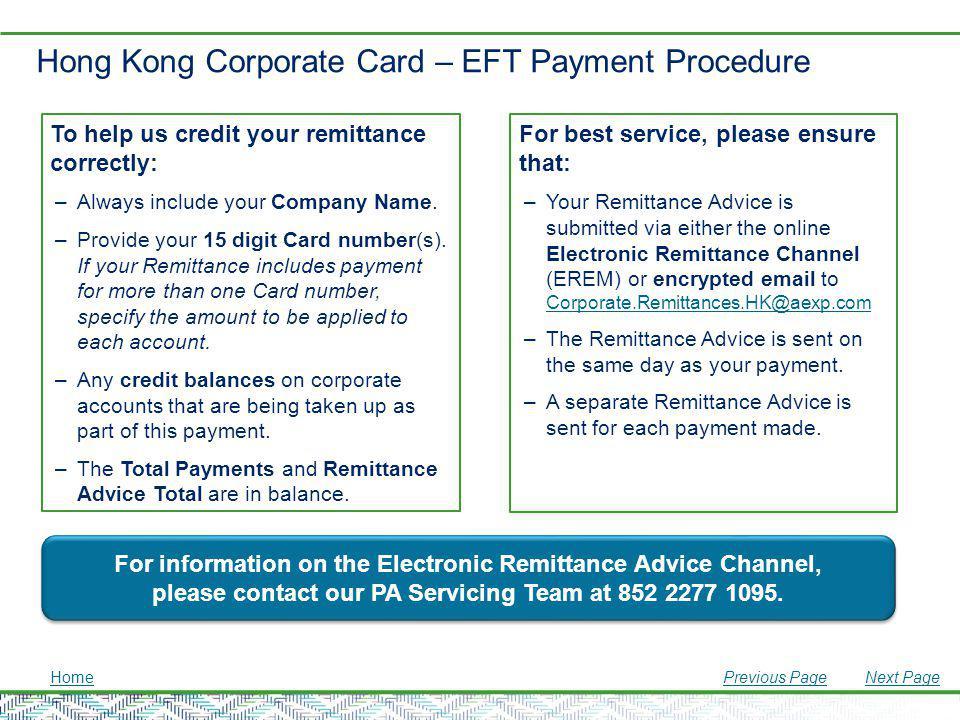 Hong Kong Corporate Card – EFT Payment Procedure