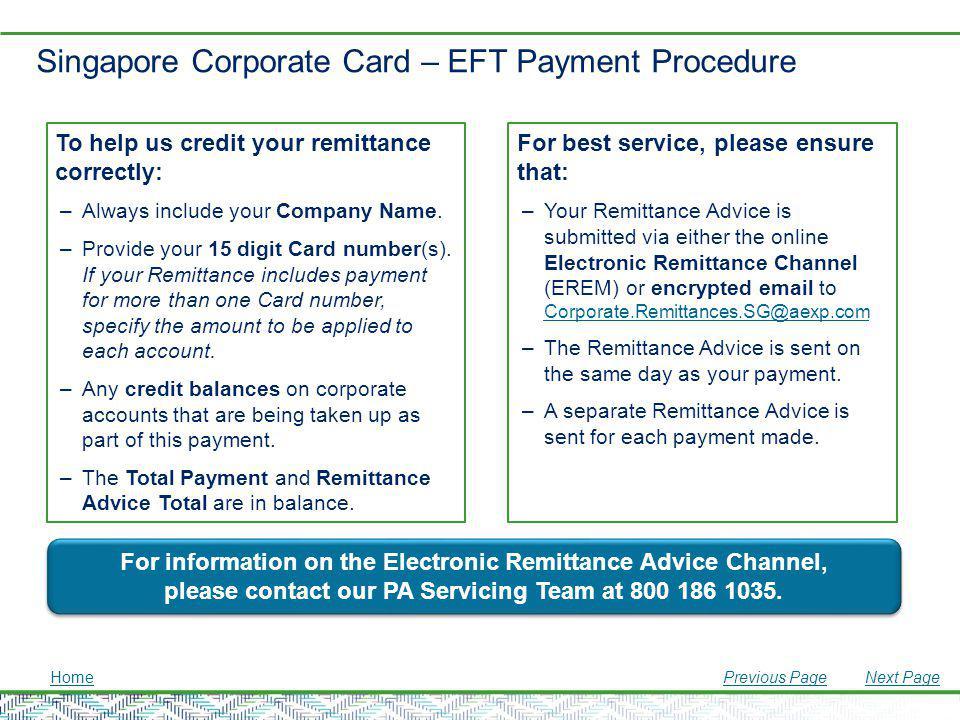 Singapore Corporate Card – EFT Payment Procedure