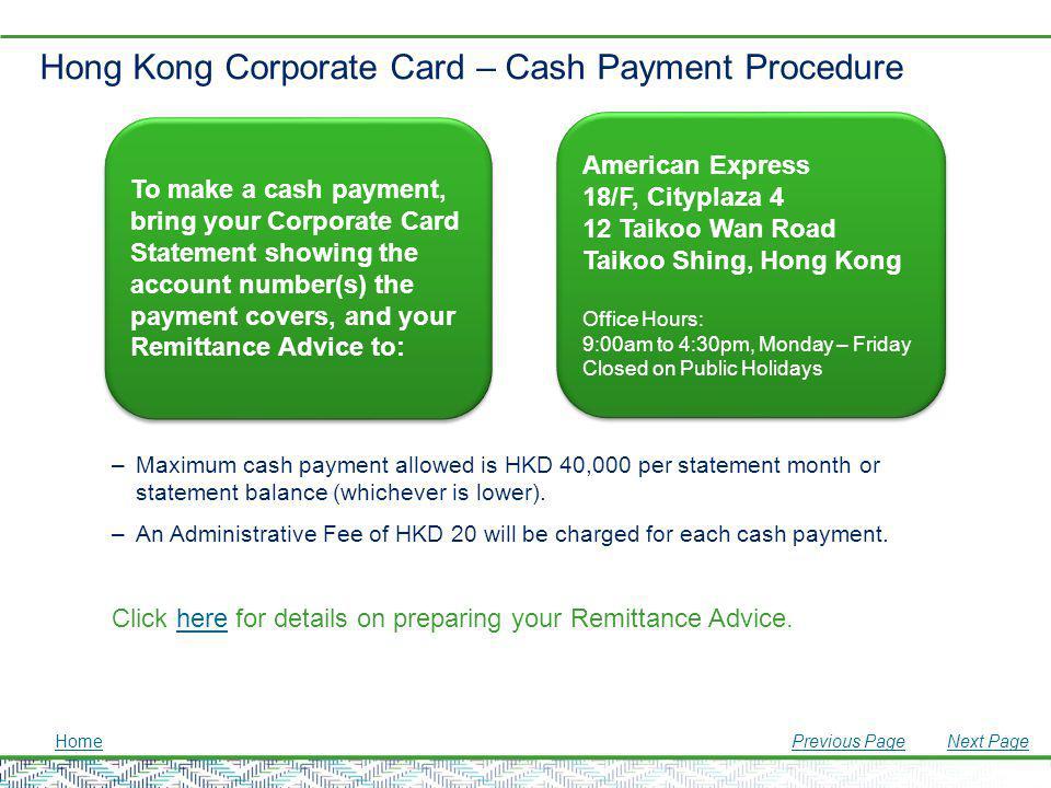 Hong Kong Corporate Card – Cash Payment Procedure