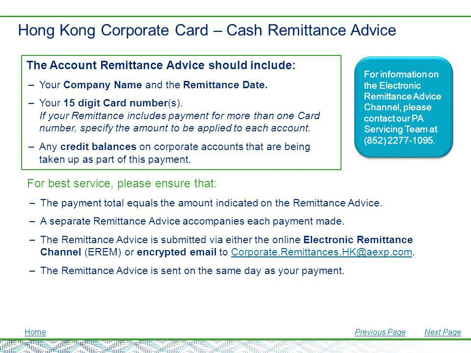 Hong Kong Corporate Card – Cash Remittance Advice