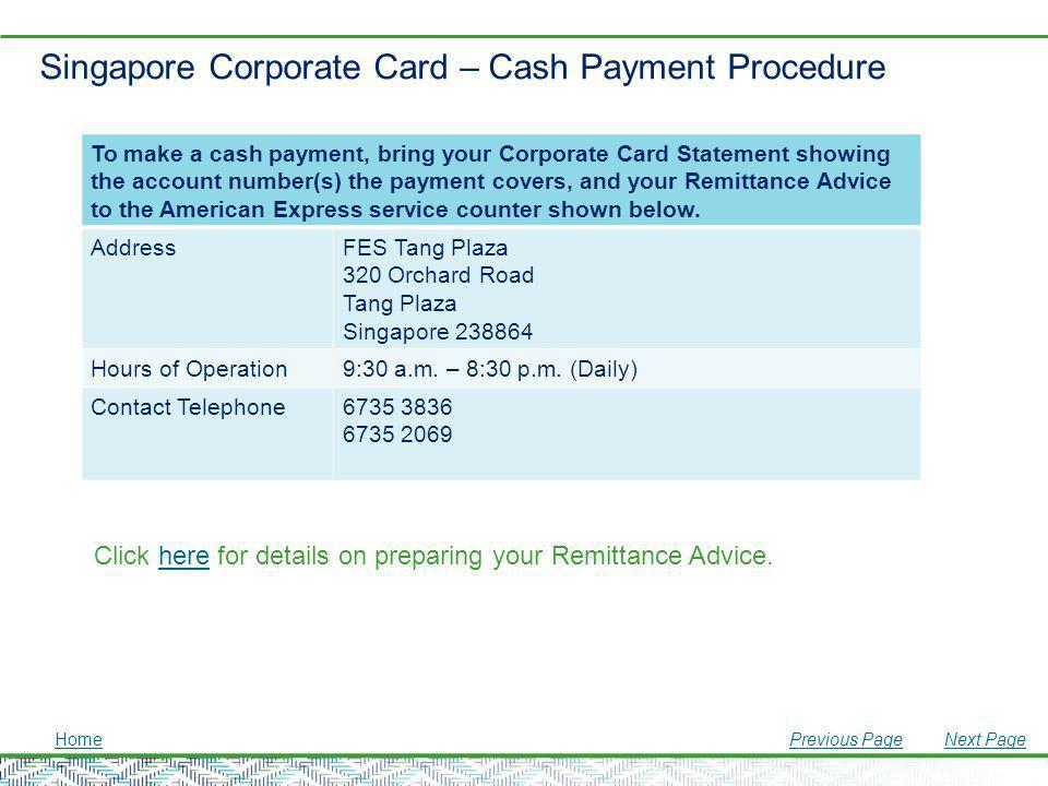 Singapore Corporate Card – Cash Payment Procedure