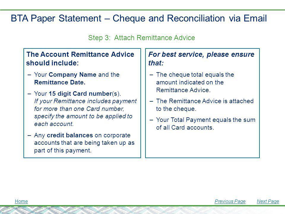 BTA Paper Statement – Cheque and Reconciliation via Email