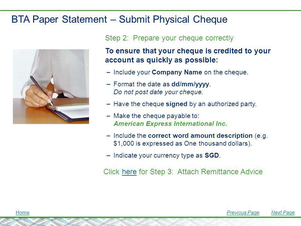 BTA Paper Statement – Submit Physical Cheque