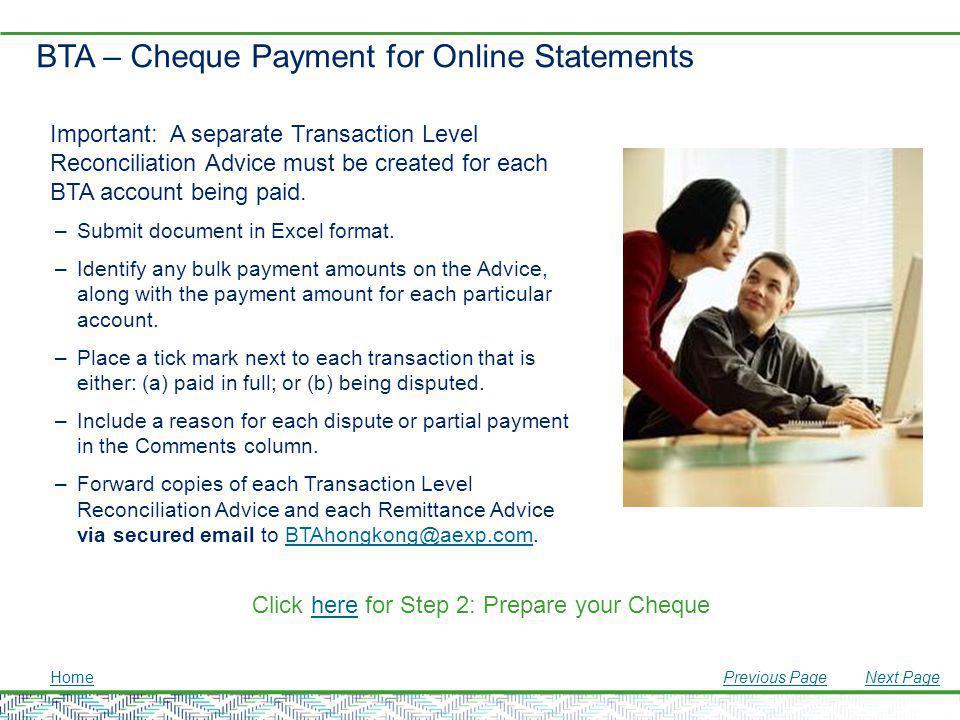 BTA – Cheque Payment for Online Statements