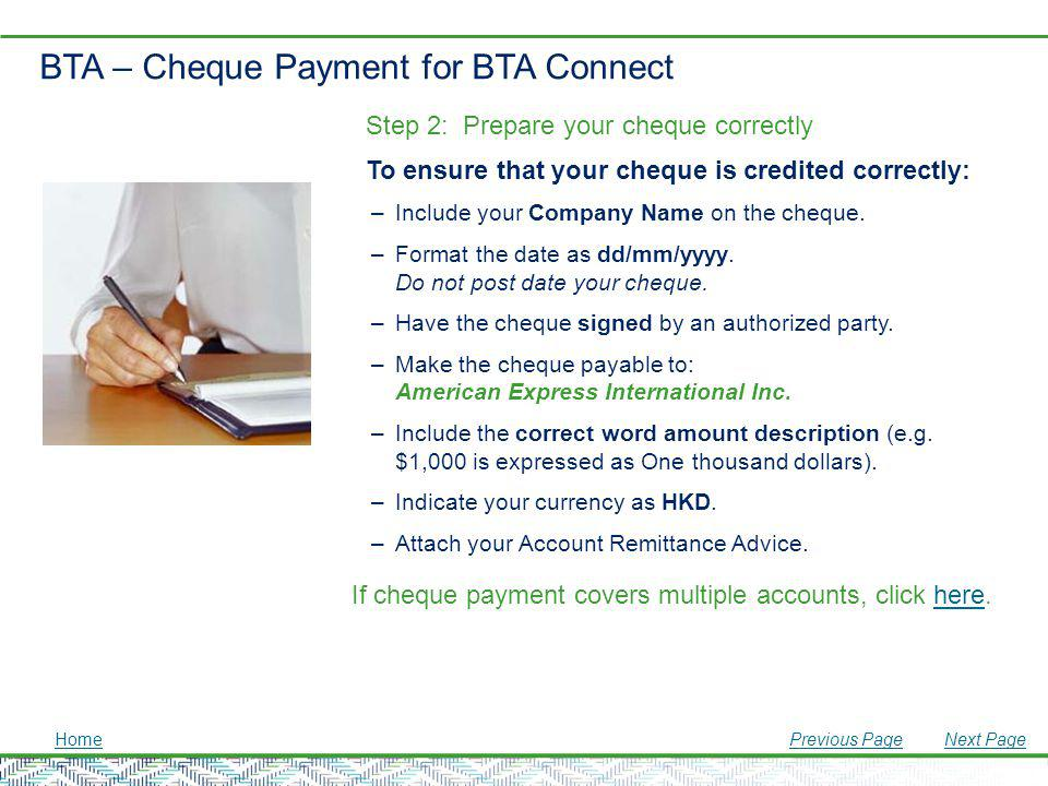 BTA – Cheque Payment for BTA Connect