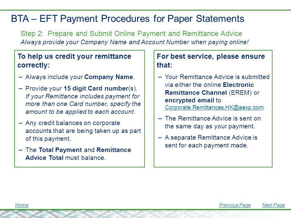 BTA – EFT Payment Procedures for Paper Statements