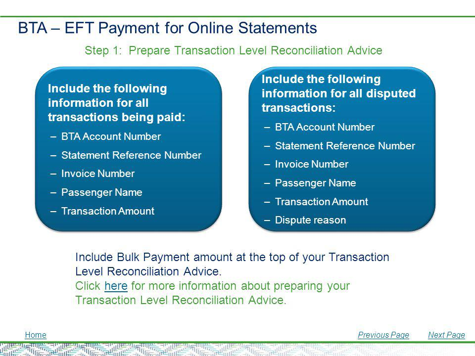 BTA – EFT Payment for Online Statements