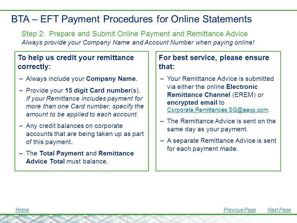 BTA – EFT Payment Procedures for Online Statements