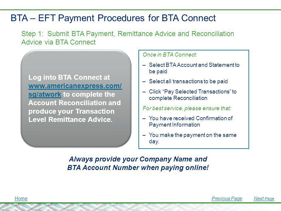 BTA – EFT Payment Procedures for BTA Connect