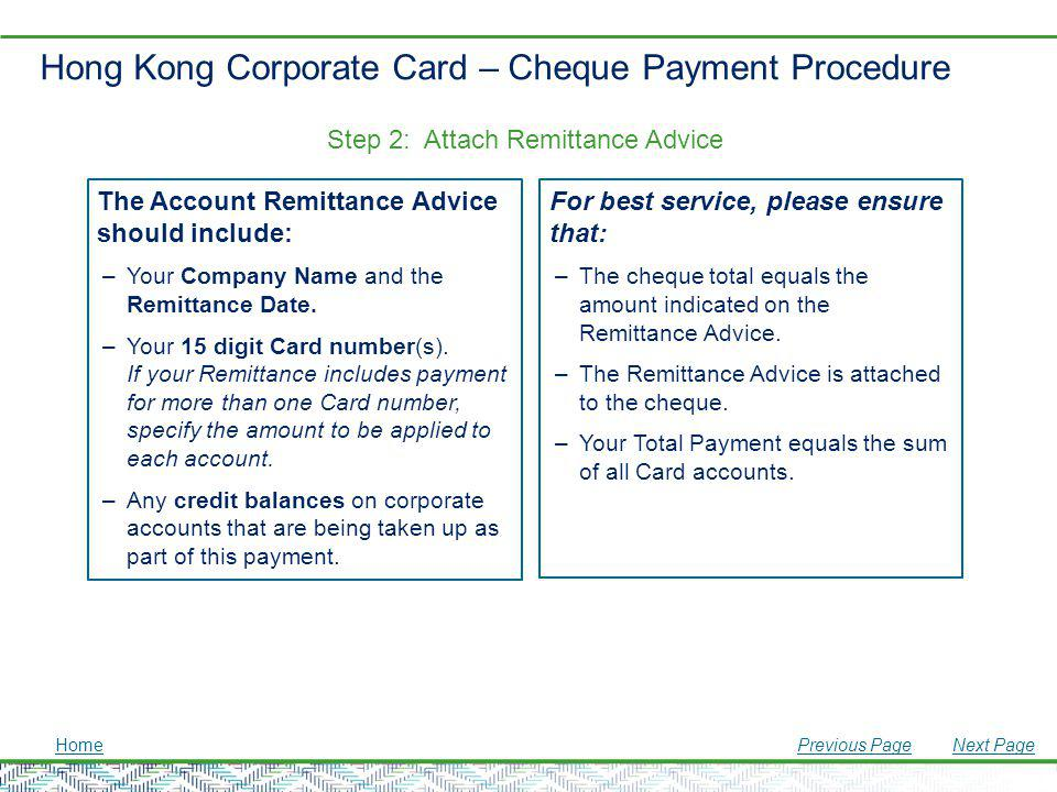 Hong Kong Corporate Card – Cheque Payment Procedure