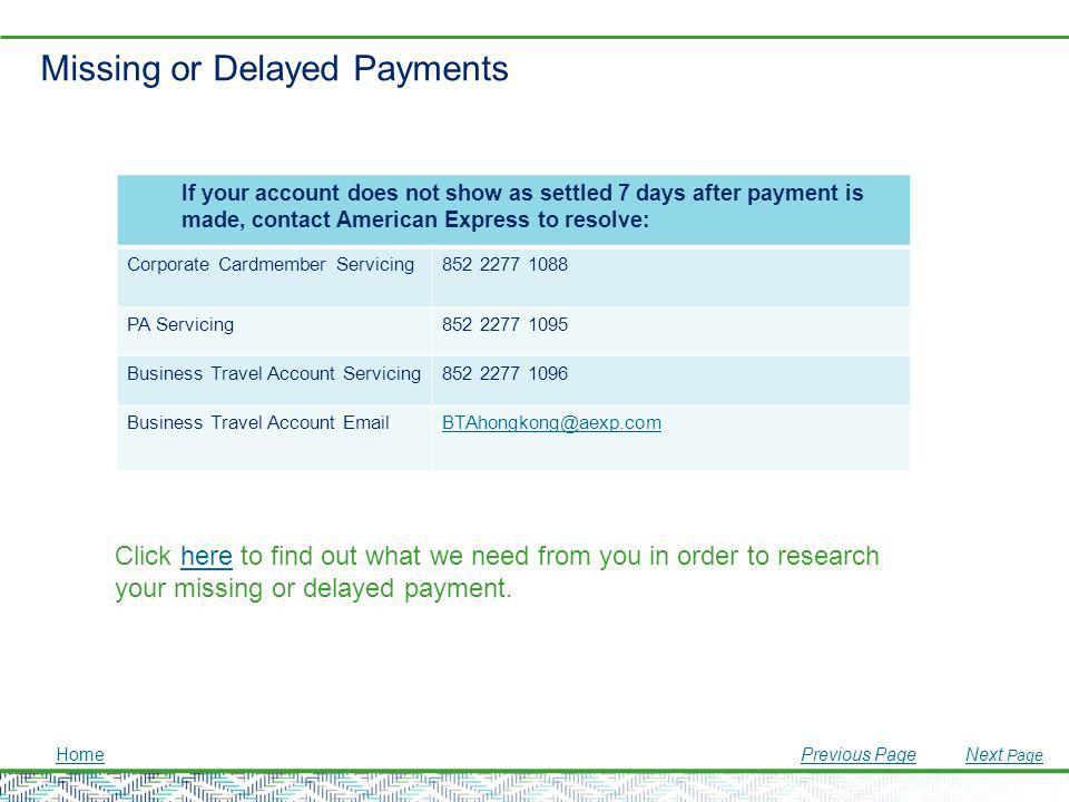 Missing or Delayed Payments