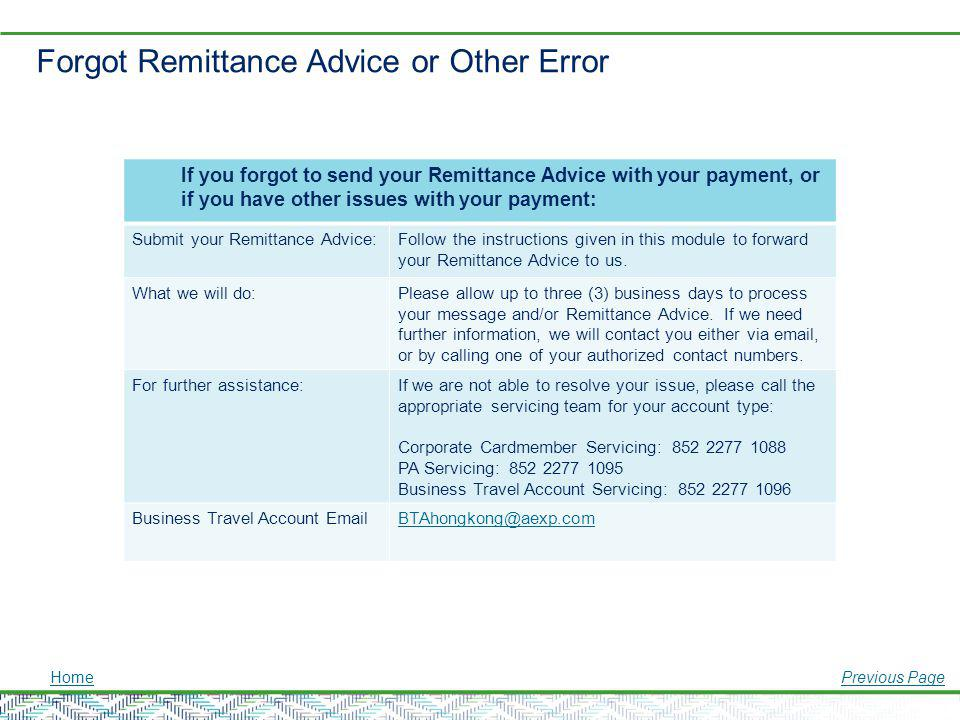 Forgot Remittance Advice or Other Error
