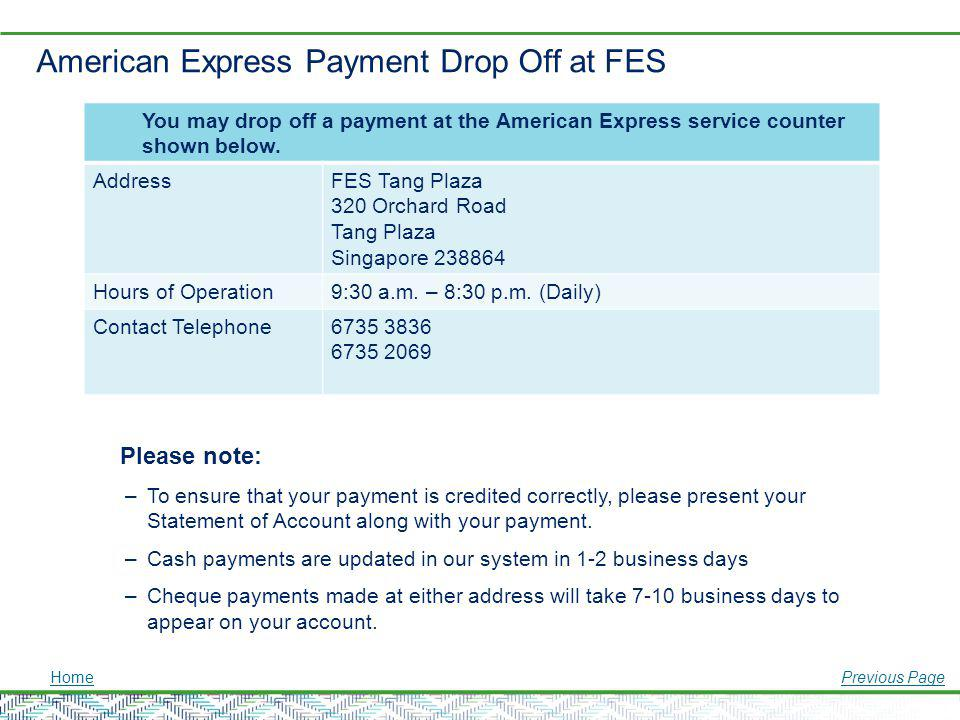 American Express Payment Drop Off at FES