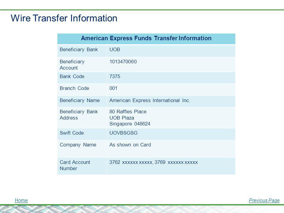 Wire Transfer Information