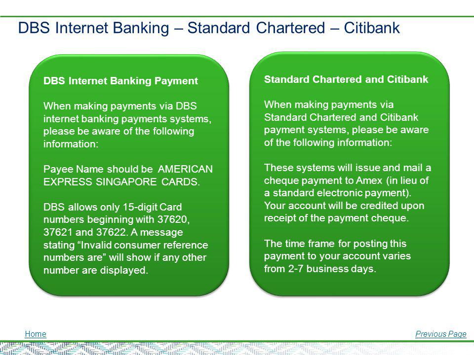DBS Internet Banking – Standard Chartered – Citibank
