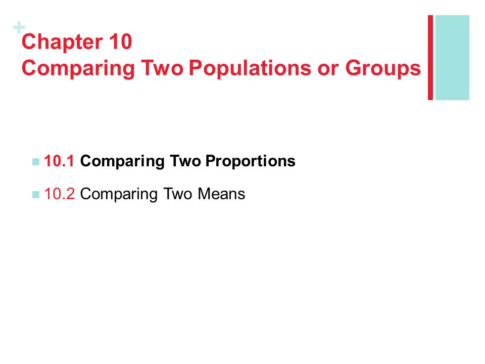 Chapter 10 Comparing Two Populations or Groups