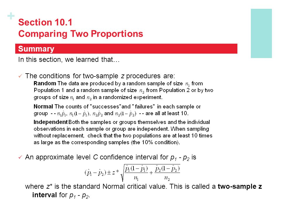 Section 10.1 Comparing Two Proportions