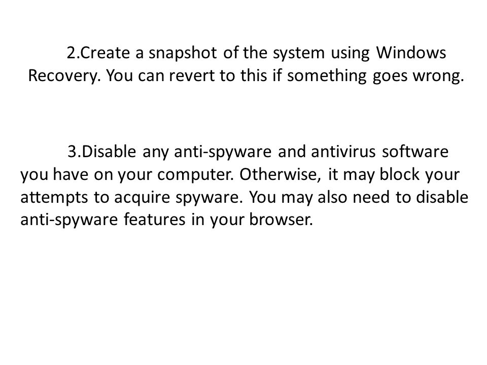 2. Create a snapshot of the system using Windows Recovery