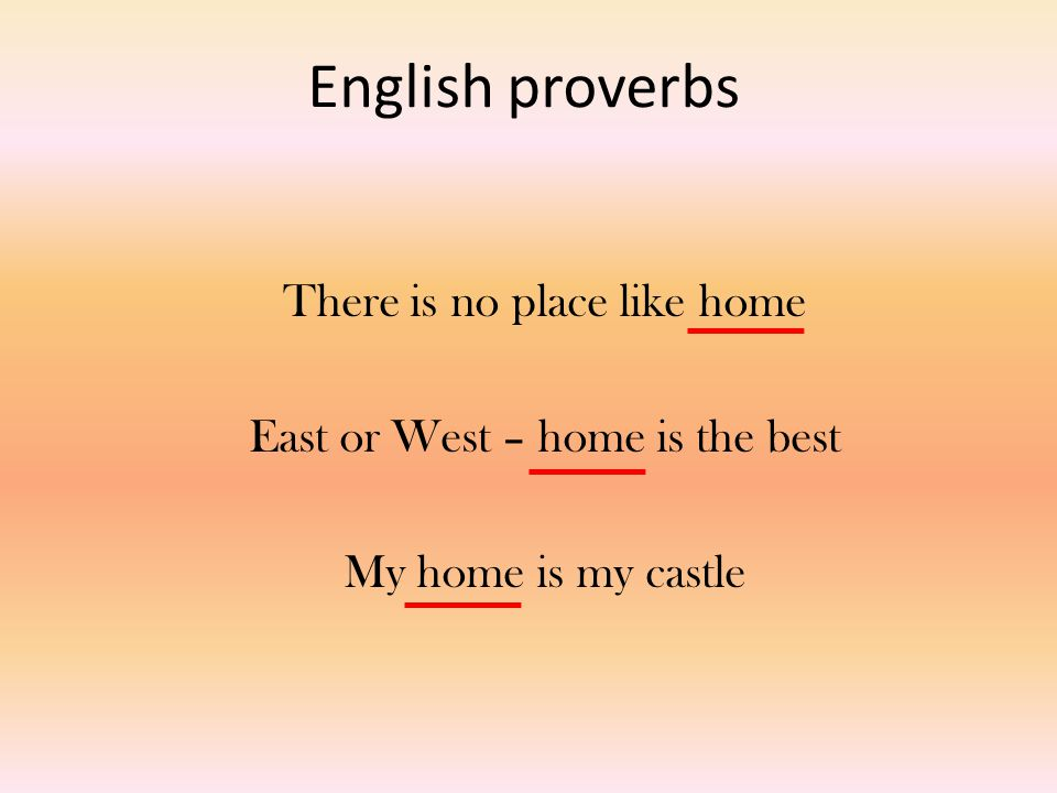 English proverbs There is no place like home