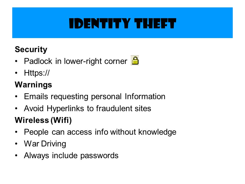 Identity Theft Security Padlock in lower-right corner Https://