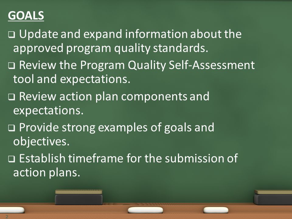 Review the Program Quality Self-Assessment tool and expectations.