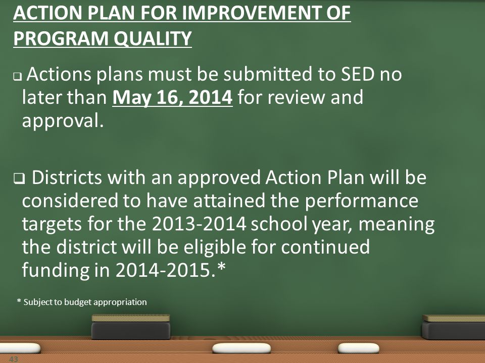 ACTION PLAN FOR IMPROVEMENT OF PROGRAM QUALITY