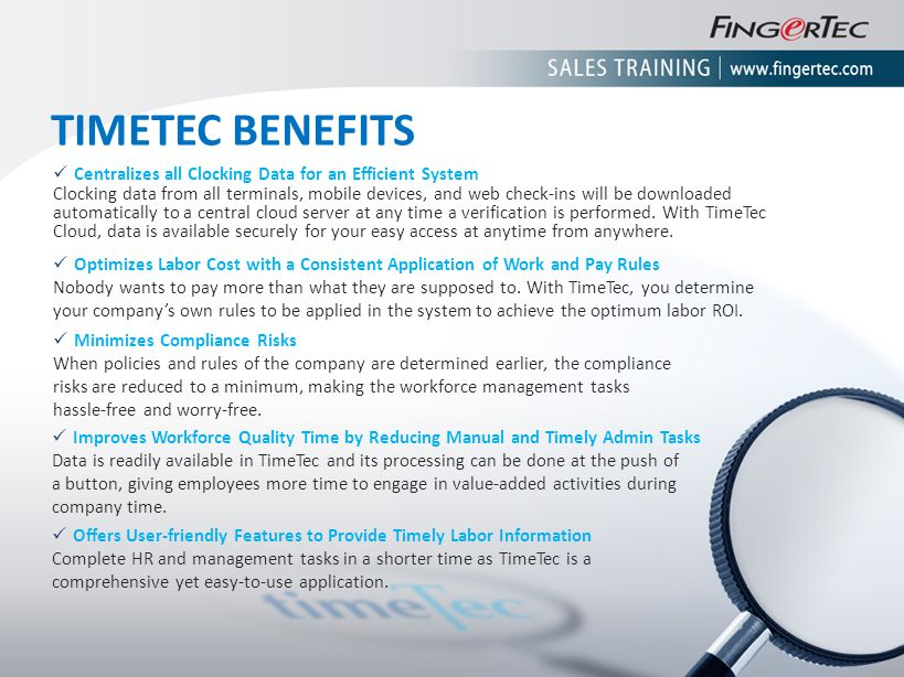 TIMETEC BENEFITS Centralizes all Clocking Data for an Efficient System